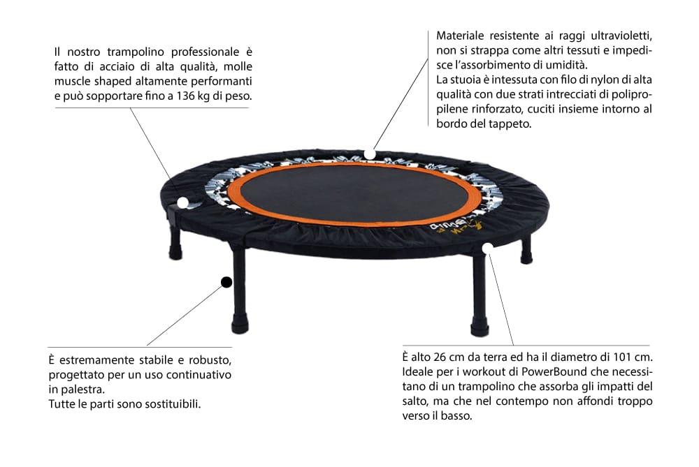trampolino elastico scheda tecnica powerbound